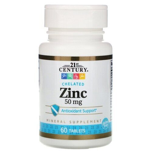 21st Century Chelated Zinc 50mg (60таб)